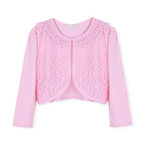 rickjacke Bolero Cape Kinder Lange Ärmel Schulterjacke Bolerojäckche Pullover festlich weiß/rosa in Größe 86-140 #5 Rosa/Lace 128-134 (Kommunion Kleider Mit ärmeln)