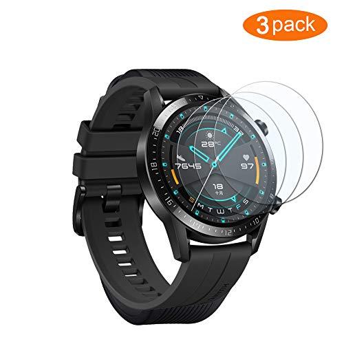 UCMDA Protector de Pantalla para Huawei Watch GT 2 46mm - [3-Pack] HD Full Cristal Vidrio Templado 2.5D Touch,HD-Display, Anti-Burbujas,para Huawei Watch GT 2