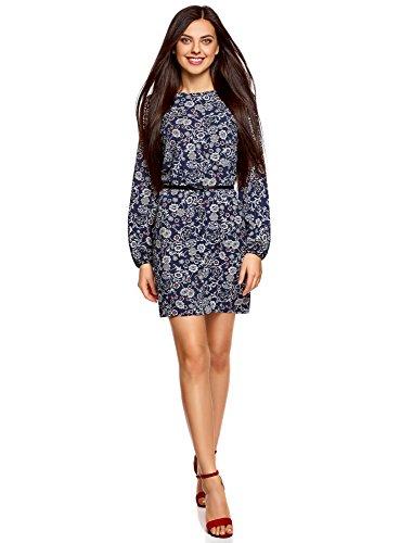 oodji Ultra Damen Viskose-Kleid Basic mit Gürtel, Blau, DE 40 / EU 42 / L