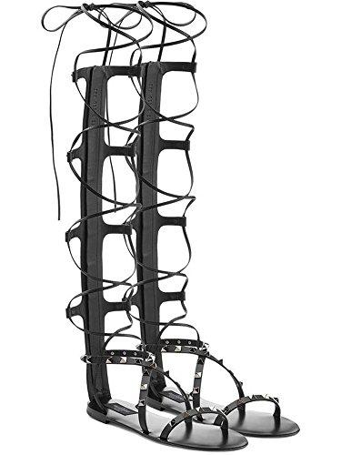 Guoar Große Größe Römersandalen opentoe mit Riemchen Ohne Absatz CrissCross Sandalen Schwarz/Niete