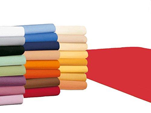 badtex24 Spannbettlaken 90 100 x 200 Spannbetttuch Bettlaken Jersey 100% Baumwolle 20 Farben Rot 90x190-100x200cm