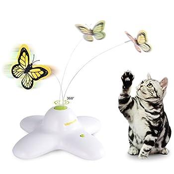 Jouet Papillon Electrique Rotating Chat Jouet pour Chat avec Deux papillons de Remplacement Flashing Interactive Cat Toy