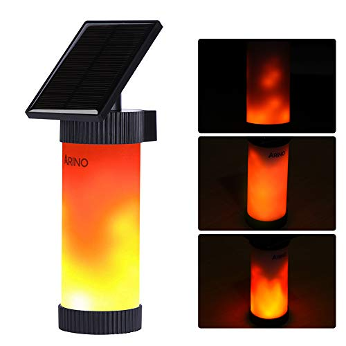Arino Solar Lights 102 LED Flame Fake Wireless Wall Light Warm White Solar Lighting with Solar Energy Waterproof IP65 for Outdoor, Wall, Garden, Road