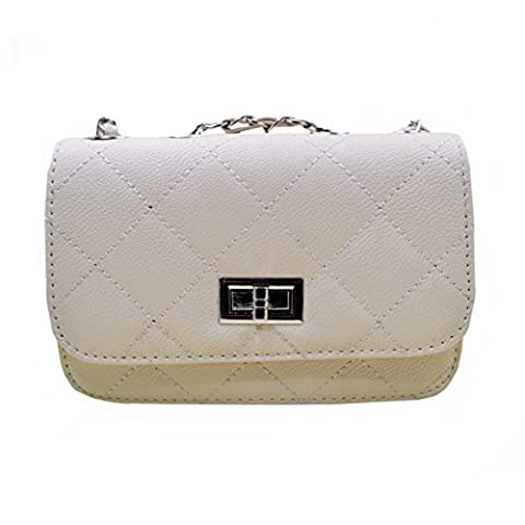 AiSi Womens Small Chain Quilted Twist Lock Shoulder Cross Body Handbag White