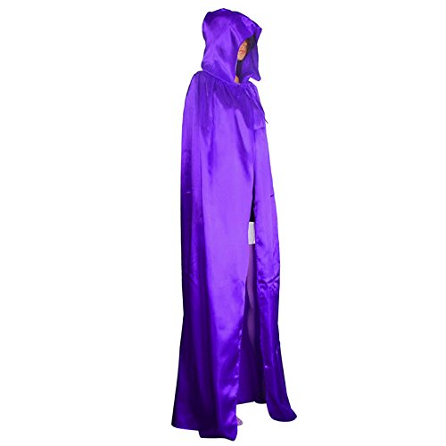 UJUNAOR 1 Cosplay Kapuzenmantel Damen Mantel Wicca Robe Mittelalterliche Cape Schal Halloween Party(Lila,CN XL)