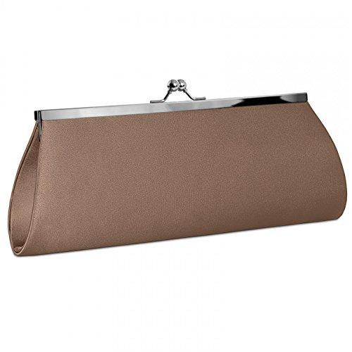 CASPAR klassische Damen Satin Clutch / Abendtasche mit elegantem Metallbügel - viele Farben - TA309 Bronze