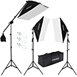 "CRAPHY Photography Studio Soft Box Lighting Kit 20""x25"" Softbox + 80"" Light Stand + 135W 5000K Continuous Lamp + Carrying Bag"