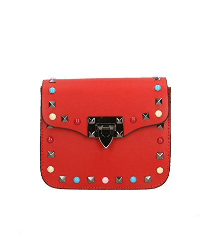 ZETA SHOES Borsa donna tracolla in vera pelle borchiata MainApps Rosso