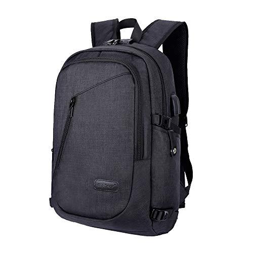 ERAY Schulrucksack (Gilt 16 Zoll Laptop, 23L) Laptop Rucksack mit USB Ladeport Kopfhöreranschluss und Anti-Diebstahl Schloß für Business, Reisen Camping, Schultasche Wasserdicht, Schwarz -