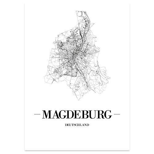 JUNIWORDS Stadtposter, Magdeburg, Wähle eine Größe, 60 x 90 cm, Poster, Schrift A, Weiß