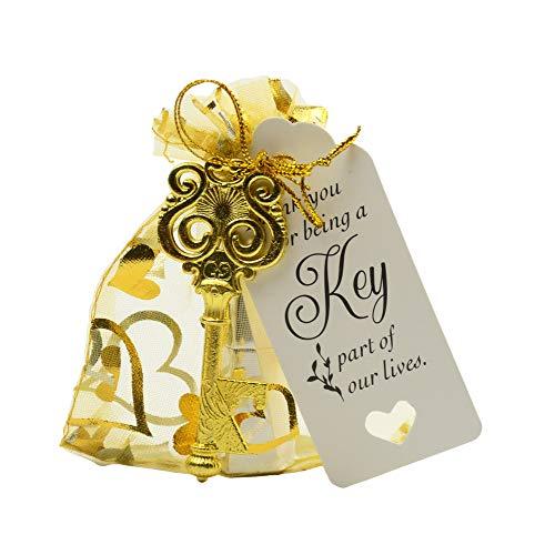 Makhry 50 Stücke Eule Geformte Vintage Schlüssel Flaschenöffner Hochzeit Gefälligkeiten Souvenir Geschenk Set Danke Tags Kordelzug Sheer Taschen (Antique Gold)