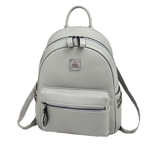 Damen PU Leder Rucksack Mode Doppel Umhängetasche Freizeit Persönlichkeit Mini Kleine Tasche Gray