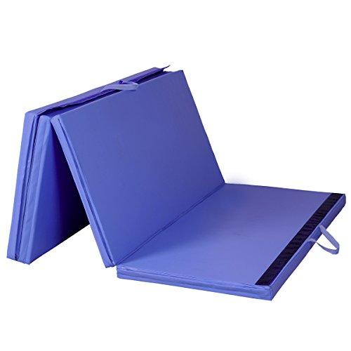 COSTWAY Weichbodenmatte Gymnastikmatte Yogamatte Turnmatte Klappmatte Fitnessmatte klappbar tragbar 240x120x5cm blau