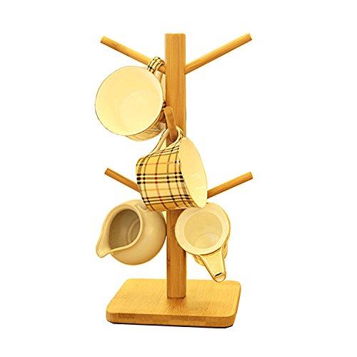 Gossipboy en bois amovible Arbre à tasses de thé de stockage de support de support de séchage Tasses à café les bottes à suspendre en bambou avec 6 crochets