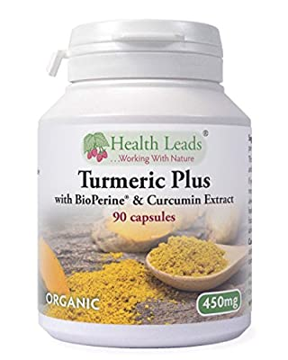 Organic Turmeric Plus 450mg - with BioPerine® (for added bioavailability and absorption of Turmeric/Curcumin) and Curcumin Extract 95% x 90 Vegetarian Capsules - Magnesium Stearate Free by Health Leads UK