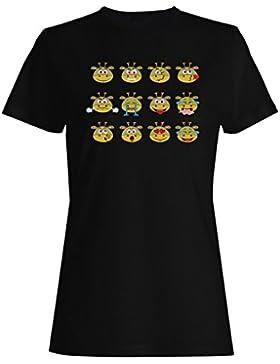 Dragón, caras, mano, dibujado, lindo, divertido camiseta de las mujeres a897f