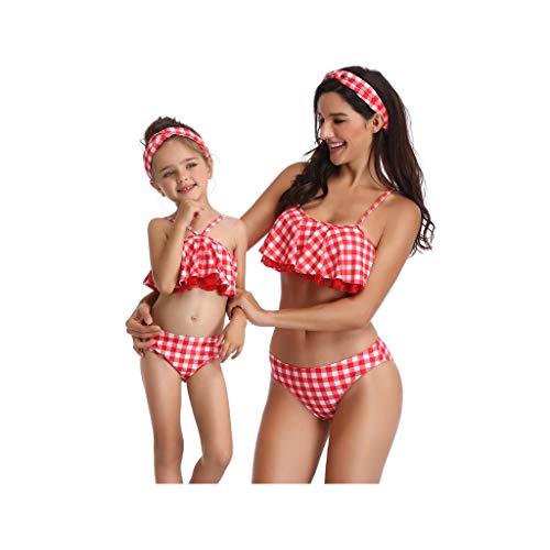 Madre e Hija Ropa Bikinis Cuadros Traje de baño Mujer Dos Piezas Ropa de baño Cintura Alta Padre Hijo...