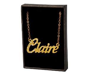 Collier Prenom Claire - Plaque or 18k Collier personnalise. 40-48 Chaine Belcher cm avec boite-cadeau et un sac-cadeau. 2mm d'epaisseur nominale
