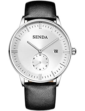 SENDA 8039 Wrist watch for man, watch Brown leather, Mens Business Quartz Watch, mens watch leather band, mens...