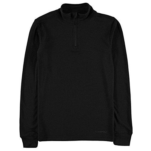Campri Kinder Thermo Shirt 1/4 Reißverschluss Langarm Schwarz S | 05057668464892