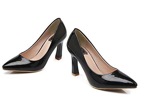 Damen Moderne Glattleder Spitze Slip On Trichterabsatz Schöne Populäre Modische Klassiche Niedrige Absatz Pumps Sandalen Schwarz