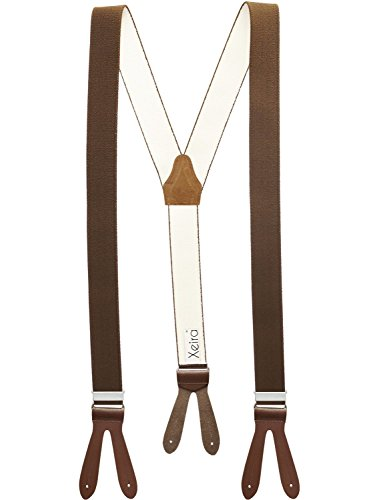 Xeira  Hochwertige Hosenträger reg; in Uni & Neon Farben mit Lederriemen - Verfügbar in XXXL 150cm Länge - Made in Germany (Normale Länge, Braun)