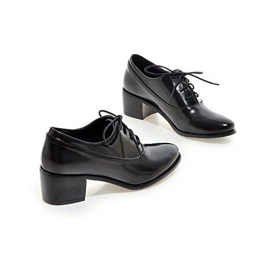 AgooLar Femme Rond Lacet Matière Mélangee Couleur Unie à Talon Correct Chaussures Légeres Noir