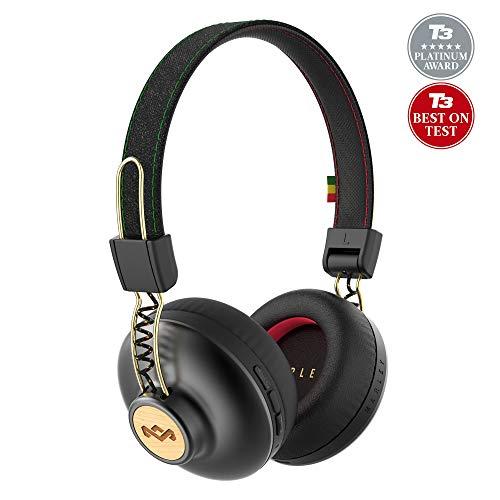 House of marley positive vibration 2 cuffie wireless con microfono, diver da 40 mm, nero/oro