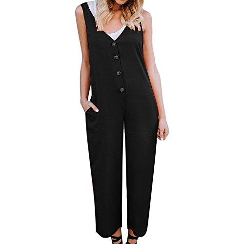 Sfit Femme Salopette Pantalons Bretelles Casual Boutons Jumpsuit Combinaison Été Sfit