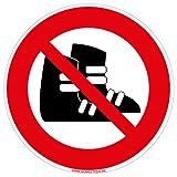 Panneau - Chaussures de Skis Interdites - Diamètre 125 mm - Aluminium 2 mm - Protection Anti-UV...