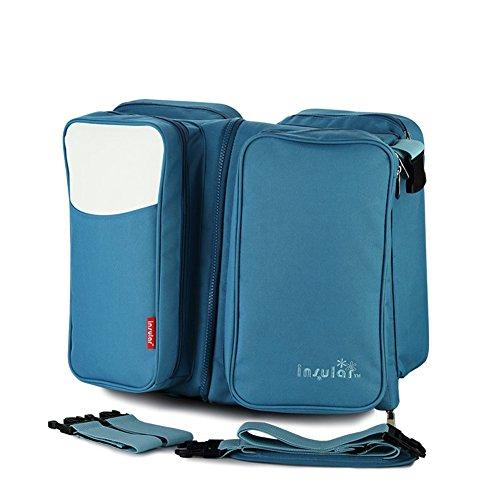 Fumee 3en 1cambiador bolsas viaje bolsas de pañales para cuna portátil para cuna manta cambiador, bolsa, bolsa de pañales cambiador bebé capazo convertible en cama azul azul