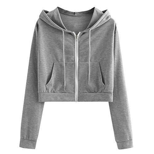 NINGSANJIN-Tops Sweat Femme Pas Cher Sweatshirt Court Ado Fille Zipper Pull Chic T-Shirt Blouse Manches Longues Sweatshirt à Capuche Pullover Pas Cher Sportwea