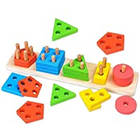 Wooden Shape Sorter Board, Geometric Building Block Board Toy Shape Color Recognition Stack Sort Puzzle Toy Early Educational Toys For Kids Toddler Children