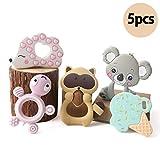 baby tete Baby 5pcs Silikon Beißring Set Igel Tier Zahnen Anhänger Rasseln Infant Montessori Spielzeug
