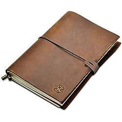 Wanderings Cuaderno de Cuero - A5 Cuaderno de Viaje Rellenable | Libreta Cuero Perfecto para Escritura, Poesía, Viajes, como Diario | Travel Notebook, Leather Journal | Insertos en Blanco | 22x15cm A5
