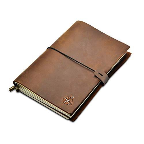 Notizbuch Leder - A5 Nachfüllbares Reisejournal   Handgefertigtes Echtleder - Perfektes zum Schreiben, Poeten, als Tagebuch oder Lebensplaner   Leather Notebook   Blanko Papier   22x15cm (A5)