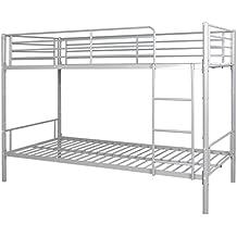 vidaXL marco de litera para niños 200x 90cm, metal blanco/negro/gris cama infantil