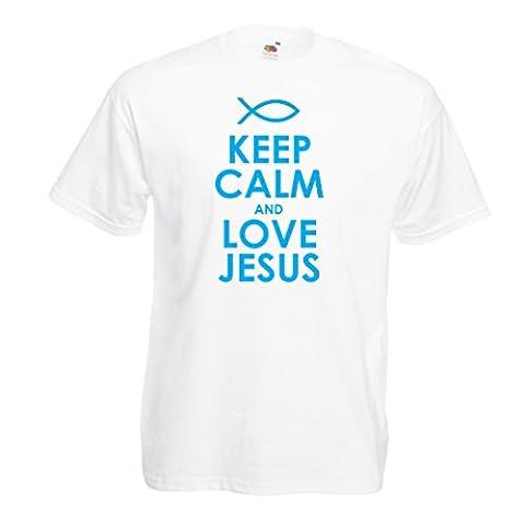 T-shirt pour hommes Christian t-shirts cadeau chrétien articles religieux (XXXXX-Large Blanc Bleu)