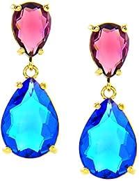 f1cc35081469 Pendientes largos de fiesta para mujer chapados en Oro con cristales de  colores