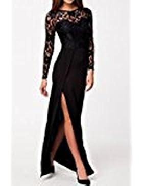 Hippolo Donna Nero Vestito di pizzo a maniche lunghe ricamo Gonne (Medium)