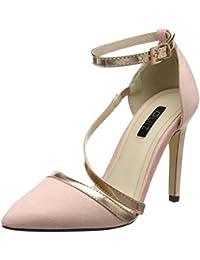 Quiz Faux Suede Slant Strap Court, Zapatos con Tacon y Correa de Tobillo Para Mujer