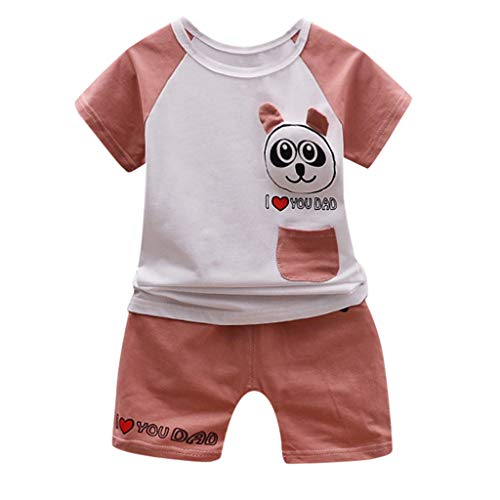 kind Kinder Baby Jungen Mädchen Nette Freizeit Cartoon Outfits T-Shirt Tops Shorts Kleidung Set Neu ()