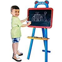 3 in 1 Childrens Double Sided Learning Chalkboard Easel Whiteboard with Magnetic Letters & Numbers