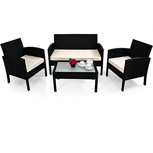 Deuba Poly Rattan Lounge Schwarz I Aluminium I 7cm Dicke Auflagen I 2 Sessel + Bank & Tisch I...