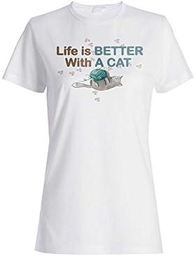 La vita è migliore con il gatto t-shirt da donna o87f