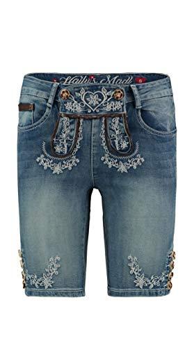Hailys Damen Trachten Bermuda Jeans Franzi Lederhosen-Look Oktoberfest Blau L