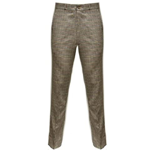 Relco - Pantalon en tweed à carreaux style Sta-Press - rétro - US 34