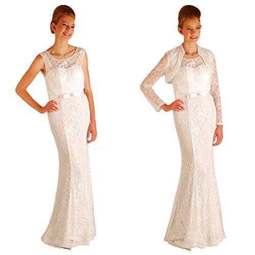 Austen - 3461 Nova Belle Abendkleid 1-teilig mit Bolero Cremeweiß Gr.38