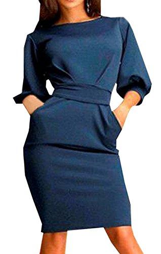 Donna Vestitini Lanterna Mezza Manica O Neckline Sottile Abito a Tubino Vestiti Ginocchio In Pelle Vestito dalla Matita di da Cerimonia Sera Partito Festa Blu scuro
