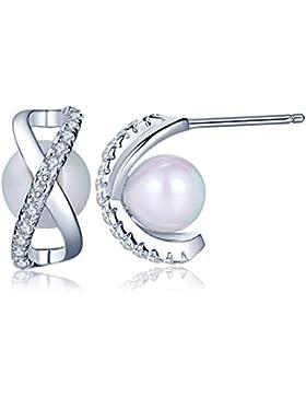 Unendlich U Fashion Unendlichkeit Zeichen Damen Ohrstecker 925 Sterling Silber Stecker Zirkonia Perlen Ohrringe...